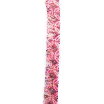 Ruban franges 30 mm fleurs roses