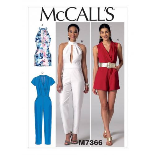 Patron Mc Call's M7366 : Barboteuse, combinaison et ceinture 34-42