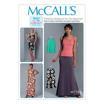 Patron Mc Call's M7386 : Haut, robe et jupe 34-42