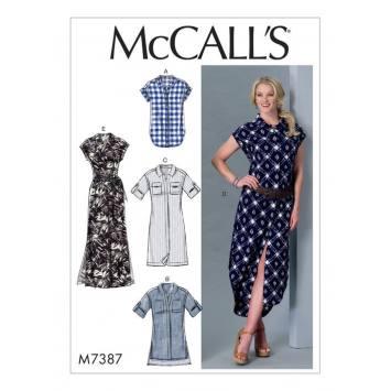 Patron Mc Call's M7387 : Haut, tunique, robe et ceinture 34-42