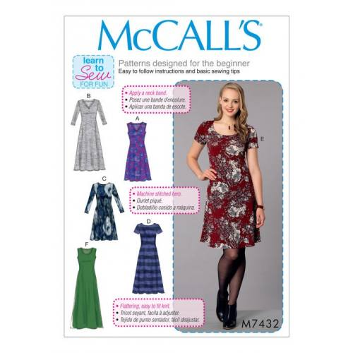 Patron Mc Call's M7432 : Robe pour jeune femme 44-52