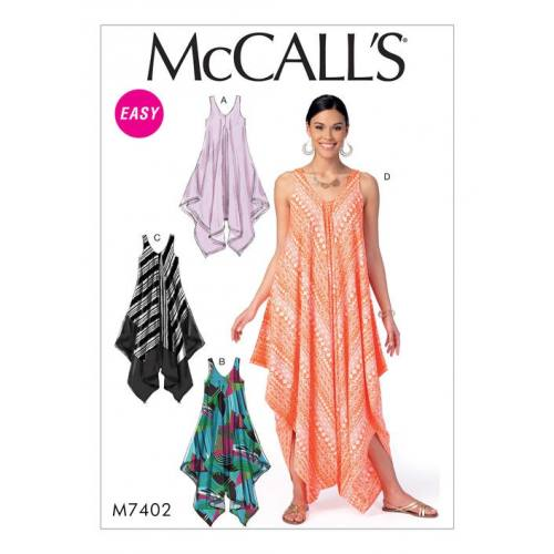 Patron Mc Call's M7402 : Robes et combinaison pour jeune femme 44-54