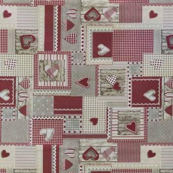 Coton enduit rouge love cuisine
