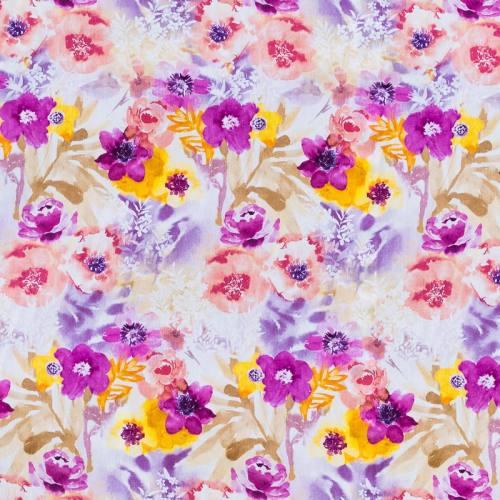 Popeline coton lilas motif grande fleur