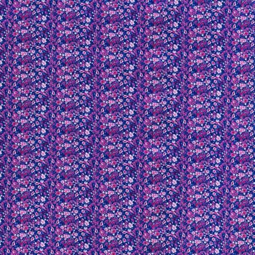 Popeline coton violet motif petites fleurs