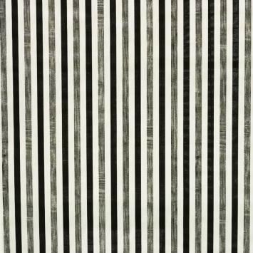 Toile polycoton imprimée à rayures blanches, noires et argentées