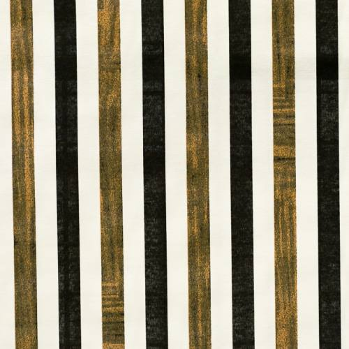Toile polycoton imprimée à rayures blanches, noires et cuivres