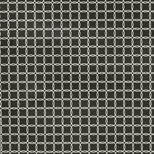 Toile polycoton noire imprimée cercles argentées
