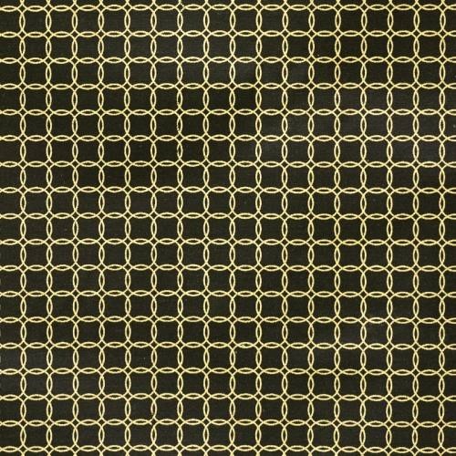 Toile polycoton anthracite imprimée cercles dorées