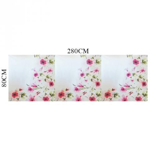 Coupon 80x280 coton percale blanc à motif fleur rose