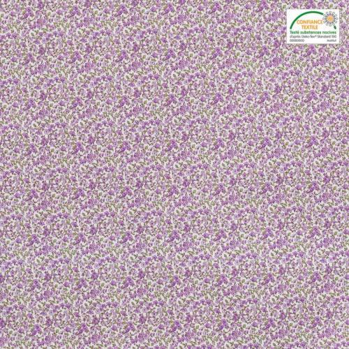 Coton écru petite fleur violet