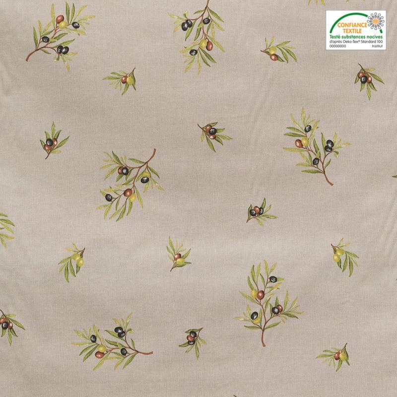 Tissu proven al gr ge motif brin d 39 olivier pas cher for Tissu impermeable exterieur pas cher