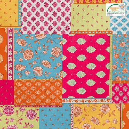 Tissu provençal multicolore motif calissons et petites fleurs