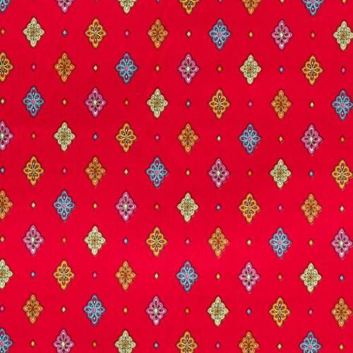 Tissu provençal rouge motif petit calisson