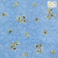Tissu provençal bleu motif brin d'olivier