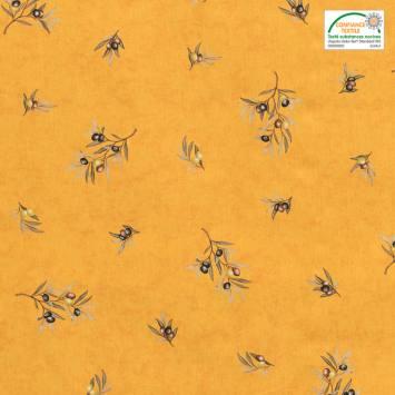 Tissu provençal jaune motif brin d'olivier