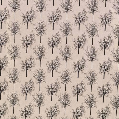 Toile polycoton beige motif arbre noir