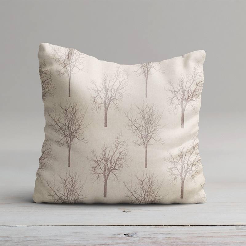 Toile polycoton beige motif arbre gris