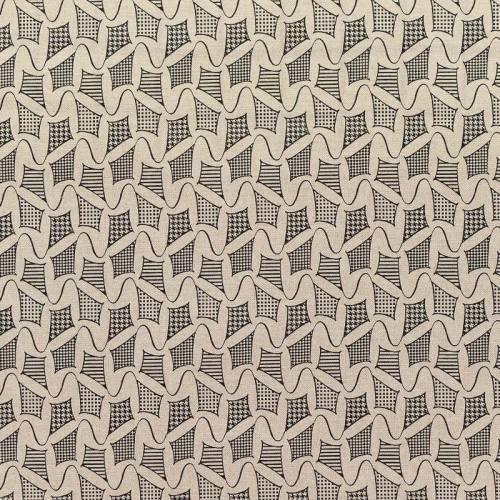 Toile polycoton beige motif cerf-volant noir