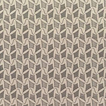 Toile polycoton beige motif cerf volant rayé noir