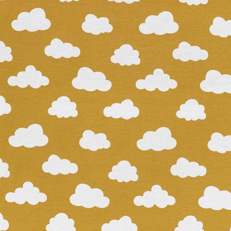 Toile polycoton ocre à motif nuage