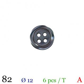 Bouton taupe rond 4 trous 12mm