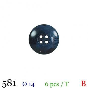 Bouton bleu nacré rond 4 trous 14mm