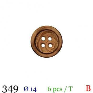 Bouton bois foncé rond 4 trous 14mm