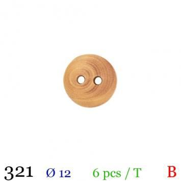 Bouton bois clair rond 2 trous 12mm