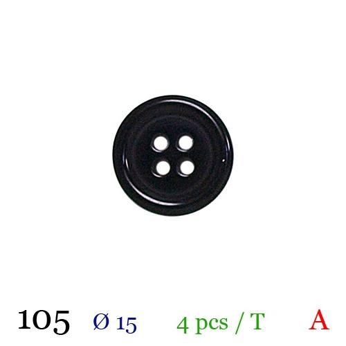 Bouton brillant noir rond 4 trous 15mm