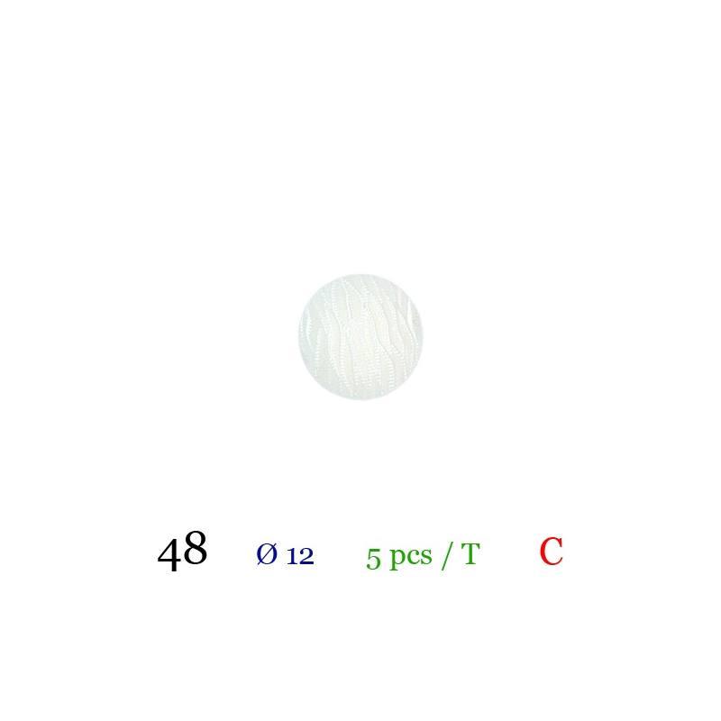 Bouton rond blanc nacré à queue 12mm