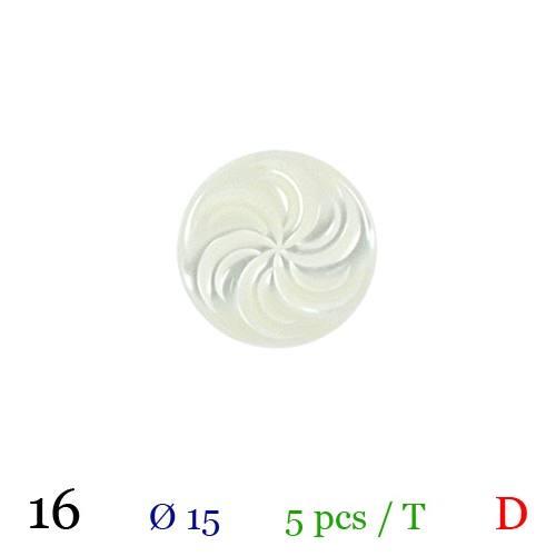 Bouton blanc nacré rond à queue 15mm