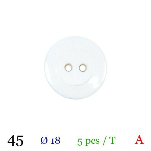 Bouton blanc rond 2 trous 18mm