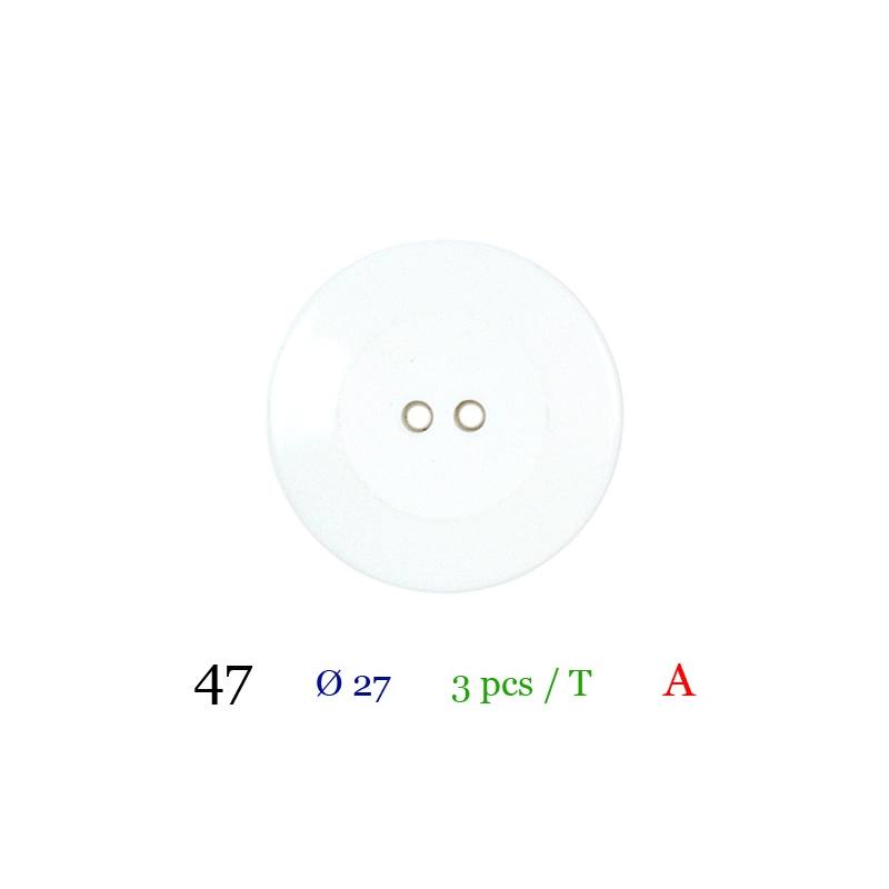 Bouton blanc rond 2 trous 27mm