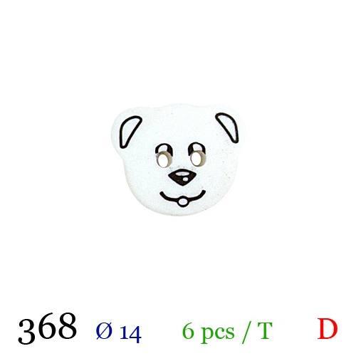 Bouton blanc panda 2 trous 14mm