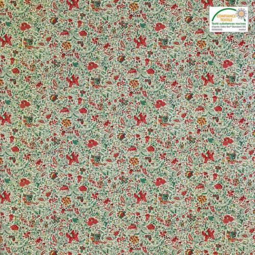 Coton blanc imprimé petite fleur vert et rouge