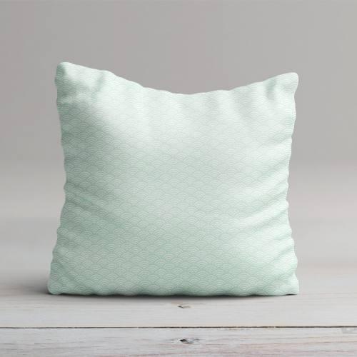 Coton blanc imprimé seigaiha vert d'eau