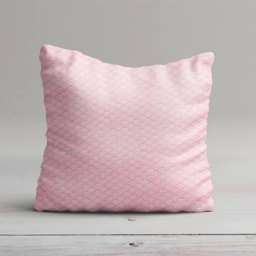 Coton blanc imprimé seigaiha rose
