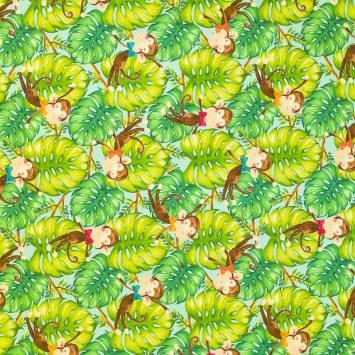 Coton impression numérique vert motif singe