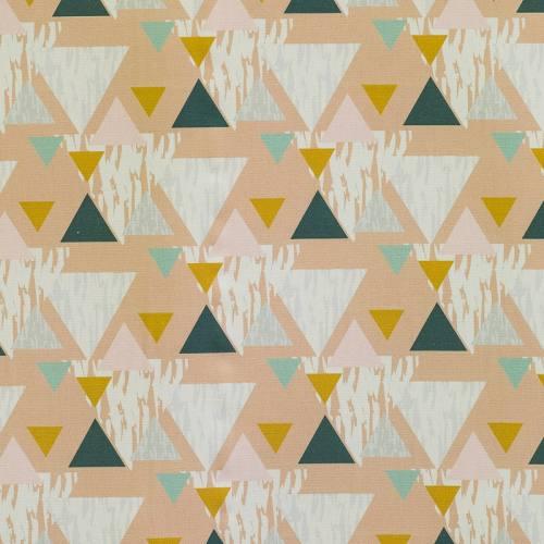 Coton impression numérique beige motif triangle géométrique