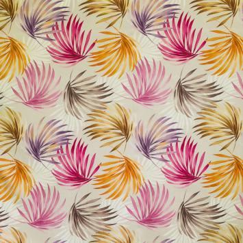 Coton impression numérique jungle marron, violet et fuchsia