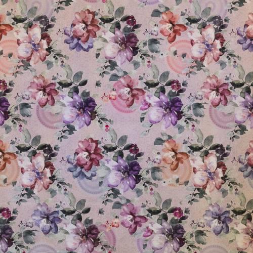 Coton impression numérique parme motif fleurs