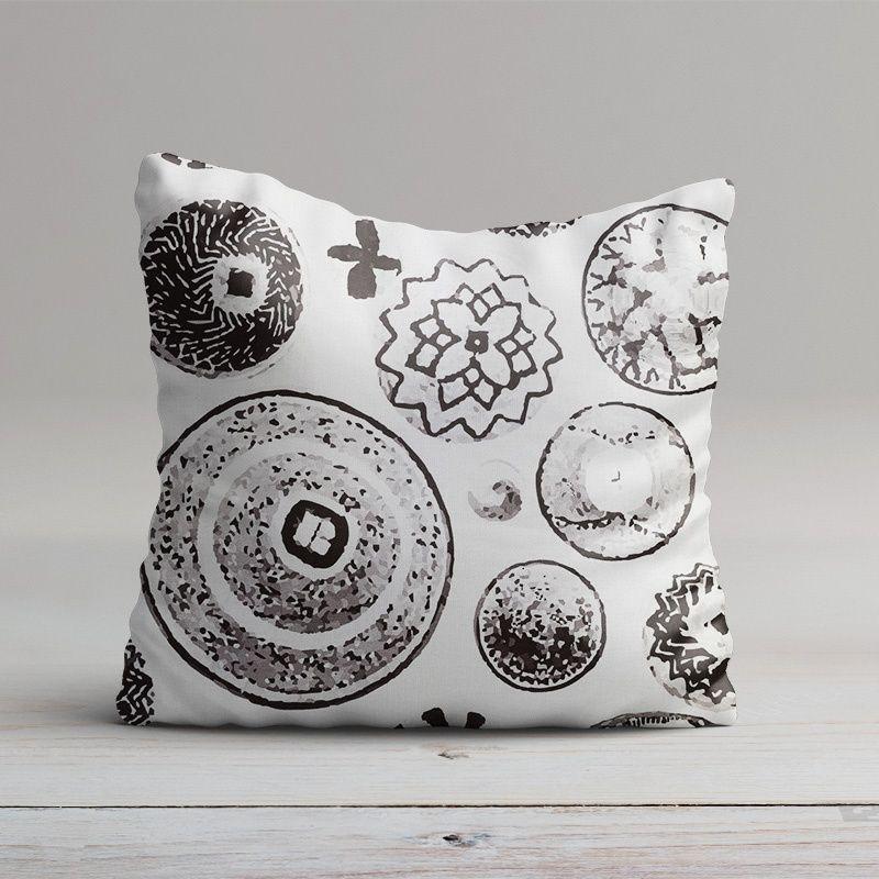 Coton impression numérique coquillage tropical noir et blanc