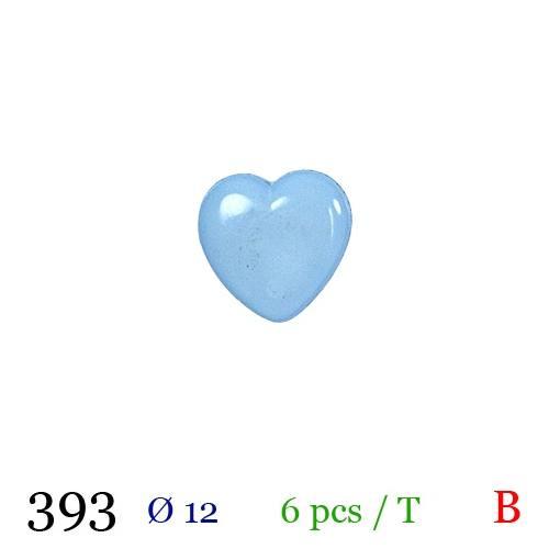 Bouton bleu pastel motif coeur à queue 12mm