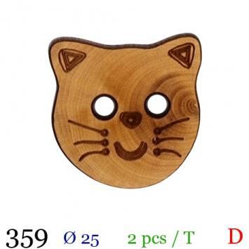 Bouton bois motif chaton 2 trous 25mm