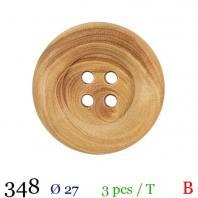 Bouton bois clair rond 4 trous 27mm