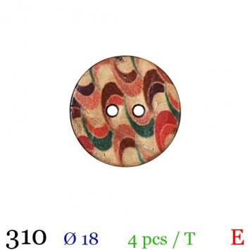 Bouton bois rond motif zig zag 2 trous 18mm