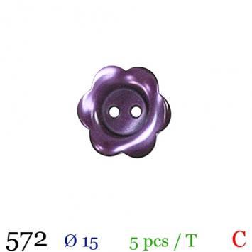 Bouton prune nacré motif marguerite 2 trous 15mm