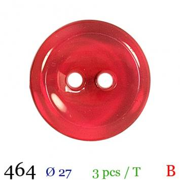 Bouton nacré rouge transparent rond 2 trous 27mm