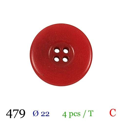 Bouton rouge mate rond 4 trous 22mm